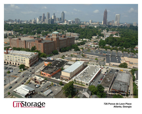 Morningstar Properties has purchased City Storage (middle foreground) in Midtown Atlanta. The $200 million Ponce City Market revitalization project is the large brick structure at left.  (PRNewsFoto/Morningstar Properties)