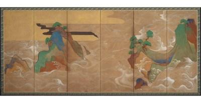 Examples of Artwork Held by the Freer and Sackler Galleries:  Tawaraya Sotatsu - Waves at Matsushima