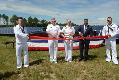 (Center three, L to R): Captain James Jenks, Commanding Officer of Naval Submarine Base Kings Bay; Rear Admiral Mary M. Jackson, Commander Navy Regions Southeast; Kenneth E. Coleman, Senior Vice President of Marketing, Georgia Power