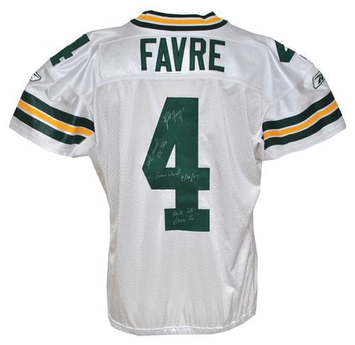 official photos e4b04 a8a14 Autographed Brett Favre Green Bay Packers Uniform Worn When ...