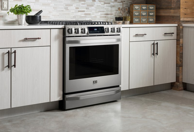 """LG Studio, the premium line of kitchen appliances from LG Electronics, has been recognized with two more prestigious honors - a gold appliance DESIGN """"Excellence in Design"""" Award and a gold A' Design Award - for the Nate Berkus-inspired LG Studio gas slide-in range."""