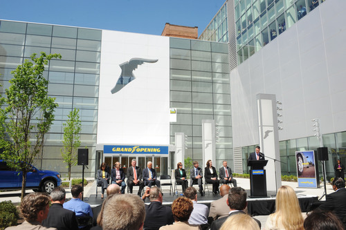 Richard Kramer, chairman and CEO of The Goodyear Tire & Rubber Company, speaks at a ribbon-cutting ceremony to formally open the tiremaker's new global headquarters in Akron, Ohio. With Kramer are (seated from left) Laura Thompson, vice president, Finance, Goodyear North America; Stu Lichter, of Industrial Realty Group; Russ Pry, Summit County executive; Akron Mayor Don Plusquellic; Mary Taylor, Lt. Governor of Ohio; Chris Burnham, president, Development Finance Authority; Lisa Winkelmann Speltz, director of Net Lease Asset Management; and  ...