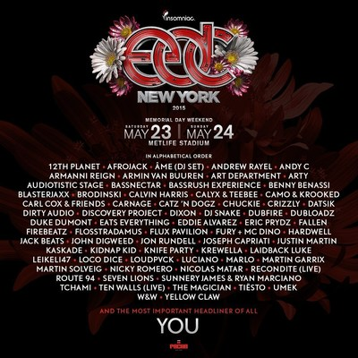 Insomniac Reveals Incredible Artist Line-Up for 4th Annual Electric Daisy Carnival, New York, May 23-24, 2015