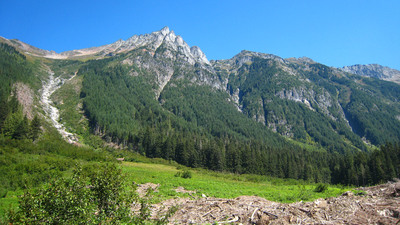 Middle Fork of the Cascade River with Mix Up Peak in the Background. Purchased claims are in upper left of picture.  (PRNewsFoto/The Wilderness Land Trust)