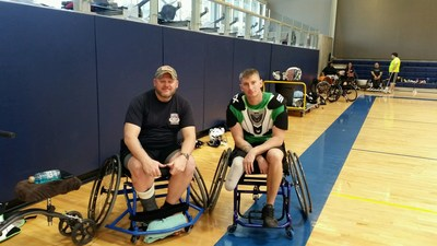 WWP Alumni Dan Piotrowski and Ben Lunak take a break in between intense wheelchair lacrosse drills.