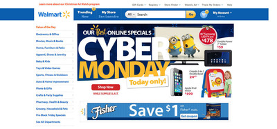 Walmart's Cyber Monday 2013 on Dec. 2. (PRNewsFoto/Walmart)