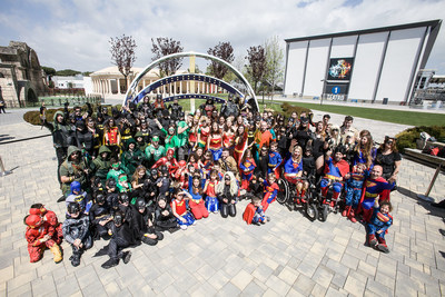 Fans dressed as DC Comics Super Heroes gather to set the Guinness World Record for most people dressed as DC Comics Super Heroes within a 24-hour period at the DC Comics Super Hero World Record Event on April 18, 2015 in Rome, Italy.