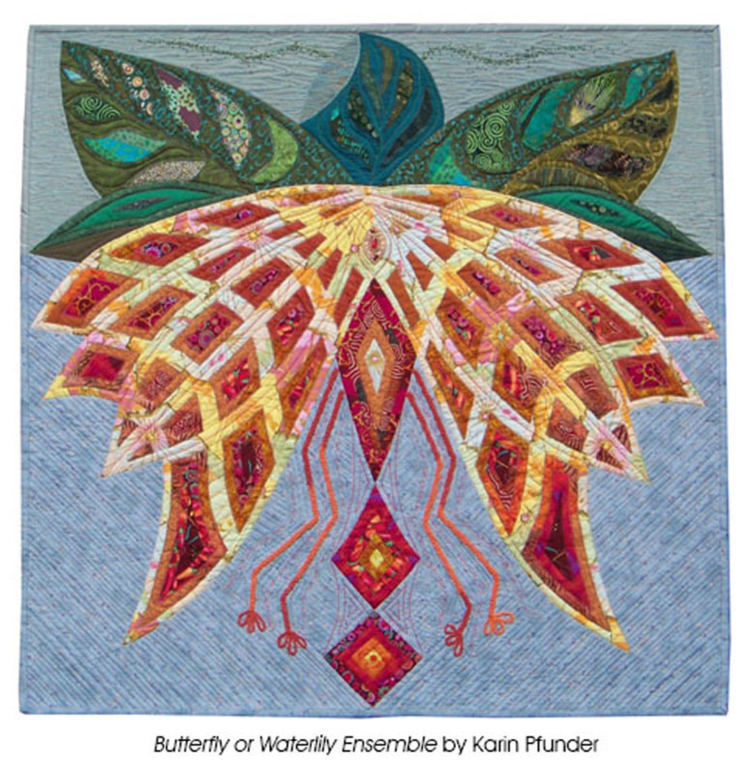 Butterfly or Waterlily Ensemble by Karin Pfunder. (PRNewsFoto/National Quilt Museum)