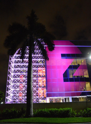 The machine lights the way for Breast Cancer Awareness.