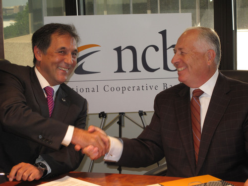 Txomin Garcia Hernandez, President of Laboral Kutxa (Left) and Charles Snyder, President and CEO of National Cooperative Bank (Right). (PRNewsFoto/National Cooperative Bank)