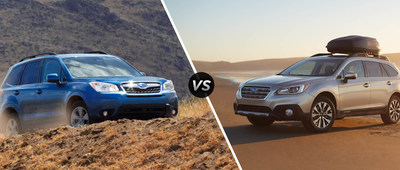 Briggs Subaru of Topeka compares its two best-selling SUVs, the 2015 Forester and Outback, for prospective Subaru buyers (PRNewsFoto/Briggs Subaru of Topeka)
