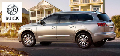 The 2014 Buick Enclave can match the 2014 Ford Explorer in terms of horsepower, but the Buick SUV starts to impress customers with outstanding luxury and cargo space. (PRNewsFoto/Cavender Buick GMC West)