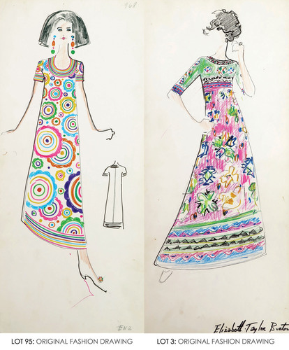 Although not signed by Lagerfeld, these two sketches of 1960s Tiziani designs are almost certainly his work. Both were stored at the Tiziani salon in a box marked 'Karl,' and the dress shown at right is identified as being for 'Elizabeth Taylor Burton,' who favored Lagerfeld's designs. From the Jan. 11, 2014 Tiziani: Lagerfeld + Liz Auction. Palm Beach Modern Auctions image. (PRNewsFoto/LiveAuctioneers.com) (PRNewsFoto/LIVEAUCTIONEERS.COM)