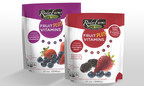 Rader Farms(R) Fruit PLUS Vitamins(TM) is the first fortified whole frozen fruit product to boost nutritional values of whole strawberries, blueberries and blackberries with five additional vitamins, including B1, B6, D, E and K. Using topical nutrients sourced only from whole fruits and vegetables, Fruit PLUS Vitamins offers a fresh approach to homemade smoothies and fresh fruit snacking. (PRNewsFoto/Inventure Foods, Inc.)