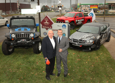 """The city of Center Line, Mich. is officially recognized as the """"Home of Mopar"""" by Center Line Mayor David Hanselman (left) and Mopar President and CEO Pietro Gorlier.  (PRNewsFoto/Chrysler Group LLC)"""