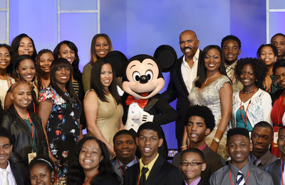 The graduating class of 2015 Disney Dreamers joins singer Yolanda Adams, entertainer Steve Harvey Mikki Taylor, editor-at-large for Essence Magazine, Michelle Ebanks, president of Essence Communications, Inc., Mickey Mouse, and Tracey D. Powell, executive champion of Disney Dreamers Academy. The ninth annual event, taking place March 3-6, 2016, at Walt Disney World Resort, is a career-inspiration program for high school students from across the U.S. and includes interactive workshops...