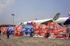 Nepal Earthquake Response: Medical aid pallets from Direct Relief unloaded from cargo flight donated by FedEx. 5.9.15.