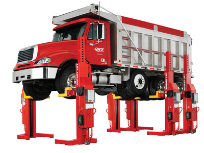Rotary Lift's timesaving Mach(TM) series mobile column lifts offer benefits for construction fleet operators with vehicles of all sizes. They will be on display in the Indiana Phoenix, Inc. booth (#62151) at the upcoming CONEXPO-CON/AGG in Las Vegas. Mach series mobile columns can be purchased in sets of two, four, six and eight columns, with either 13,000 lbs. or 18,000 lbs. of capacity per column. Using a 12,000 lb. capacity truck frame adapter kit, a pair of 13,000 lb. capacity columns can be used to service pickups, while six 18,000 lb. capacity columns will lift virtually anything on the road.  (PRNewsFoto/Rotary Lift)