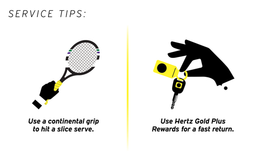 "Hertz, official transport supplier to the Wimbledon Tennis Championships for the 20th year, offers tennis fans the chance to try out  ""Winning Service Tips"" in a specially designed tennis game. (PRNewsFoto/The Hertz Corporation)"