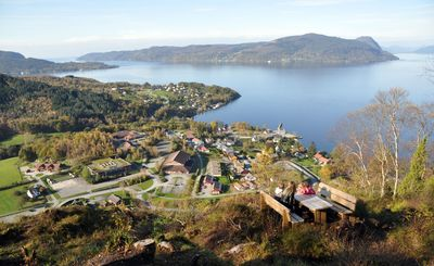 The installation of fiber-optic network with a speed of 1,000 Mb/s (1 Gb/s) has already begun in the fjord and mountain district Hjelmeland. Picture from the city centre. (Photo: Dag Anton Boge)