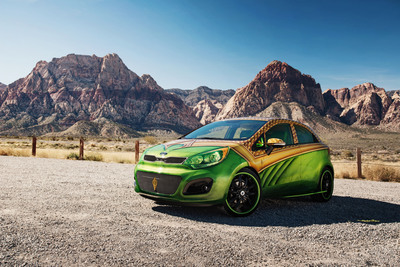 Debuting at SEMA, Kia Rio 5-door provides a natural automotive alter-ego for Aquaman, symbolizing his role as protector of the environment, both land and sea.  (PRNewsFoto/Kia Motors America)