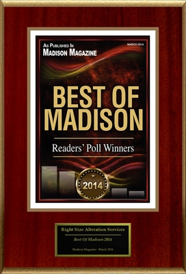 "Right Size Alteration Services Selected For ""Best Of Madison 2014"" (PRNewsFoto/Right Size Alteration Services)"