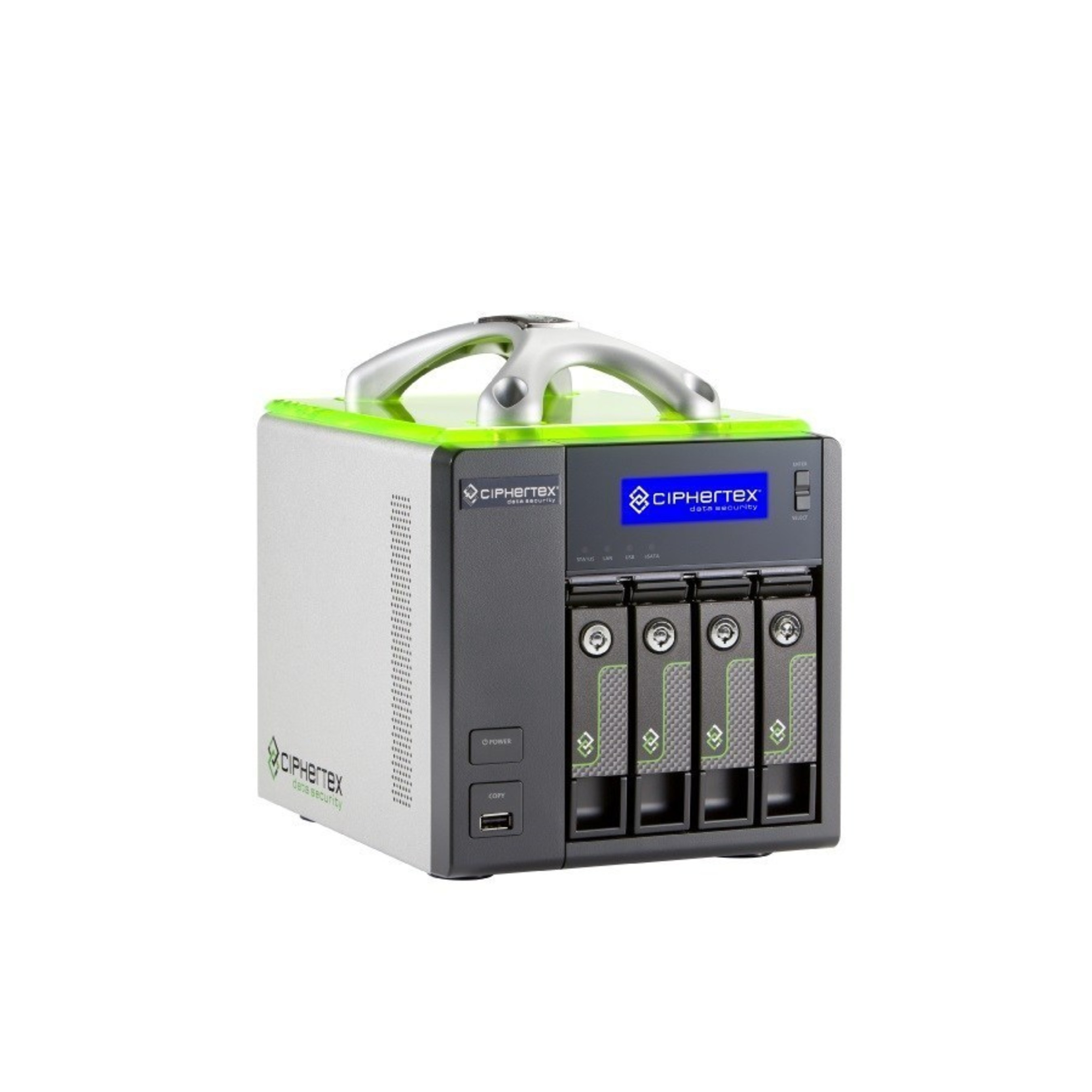 Ciphertex rugged, portable, and encrypted CX-4KEX-NAS (network attached storage) server for high capacity protected storage for any size production.