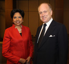 Indra Nooyi, Chairman and Chief Executive Officer, PepsiCo and Ronald S. Lauder, Chairman, Board of Governors, The Joseph H. Lauder Institute. (PRNewsFoto/Lauder Institute/Wharton School at the University of Pennsylvania, John Calabrese)