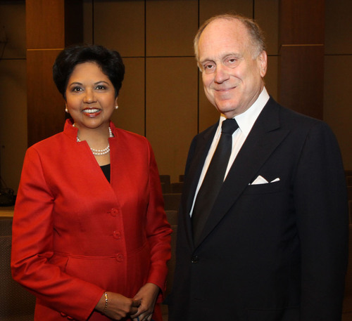 Indra Nooyi, Chairman and Chief Executive Officer, PepsiCo and Ronald S. Lauder, Chairman, Board of Governors, ...