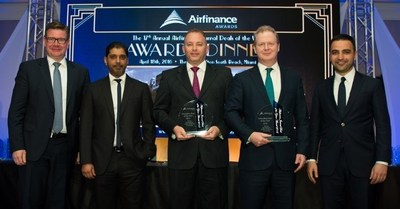 Etihad Airways' finance team is pictured after a US$700 million landmark transaction for Etihad Airways Partners was named Innovative Deal of the Year by Airfinance Journal in Miami last night. From left: Ulf Huttmeyer, Senior Vice President Finance; Bassam Al Mossa, Vice President Corporate Investments and Subsidiaries; Ricky Thirion, Group Treasurer; James Rigney, Chief Financial Officer; and Nader Al Salim, Executive Director of lead advisor Goldman Sachs.