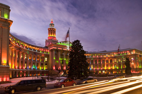 Denver's City and County Building lit for the holidays.  (PRNewsFoto/VISIT DENVER, The Convention & Visitors Bureau, Stevie Crecelius)