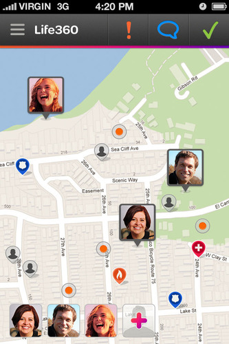Life360 is the leading location and communication app for families. Screenshot of the Family Map in the app.  (PRNewsFoto/Life360)