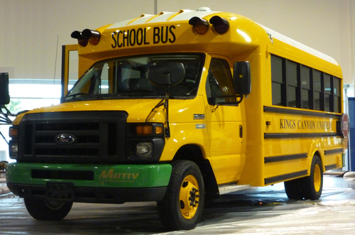 The Trans Tech/Motiv SST-e all-electric school bus can save a school district about 16 gallons of fuel a day, ...