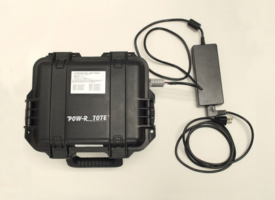 "POW-R TOTE portable rechargeable lithium-ion power system to use anywhere, anytime. High Capacity: 100Ah; Versatile: 12V vehicle plug, Anderson SB50 Powerclaw & custom connectors configured-to-order.  Lightweight: Only 23lbs; Compact: Size of a lunchbox, 11.8"" x 9.8"" x 7.7""; Heavy duty: water tight storm case; Eco-friendly. High capacity and compact-convenient energy for military, law enforcement, fire/rescue field operations is now available to everyone. (PRNewsFoto/Southwest Electronic Energy Grp.)"