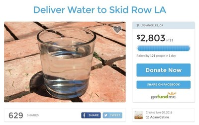 Angelenos Start a GoFundMe Campaign to Deliver Water to Homeless Skid Row Residents