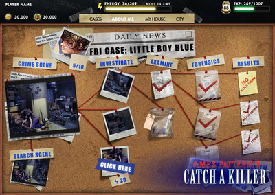 Crime board from James Paterson: Catch a Killer(TM), now available on Facebook from Sony Online Entertainment.
