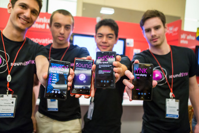 "A group of students from the United Kingdom won $50,000 as the first-place winners of the Microsoft Imagine Cup Innovation Competition with their mobile phone application ""soundSYNK,"" which creates impromptu social networks that allow people to stream music simultaneously through a group of phones, effectively creating a symphony of speakers.  (PRNewsFoto/Microsoft Corp.)"