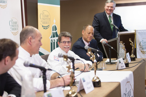 Dr. Tim Ryan, President of The Culinary Institute of America, presented Walter Robb, Rick Bayless, Cliff Pleau,  ...