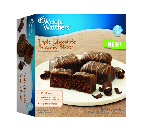 Triple Chocolate Brownie Bliss(TM) is a decadent brownie, layered with rich, real chocolate ganache and covered in a chocolaty coating. (PRNewsFoto/Weight Watchers Sweet Baked Good)