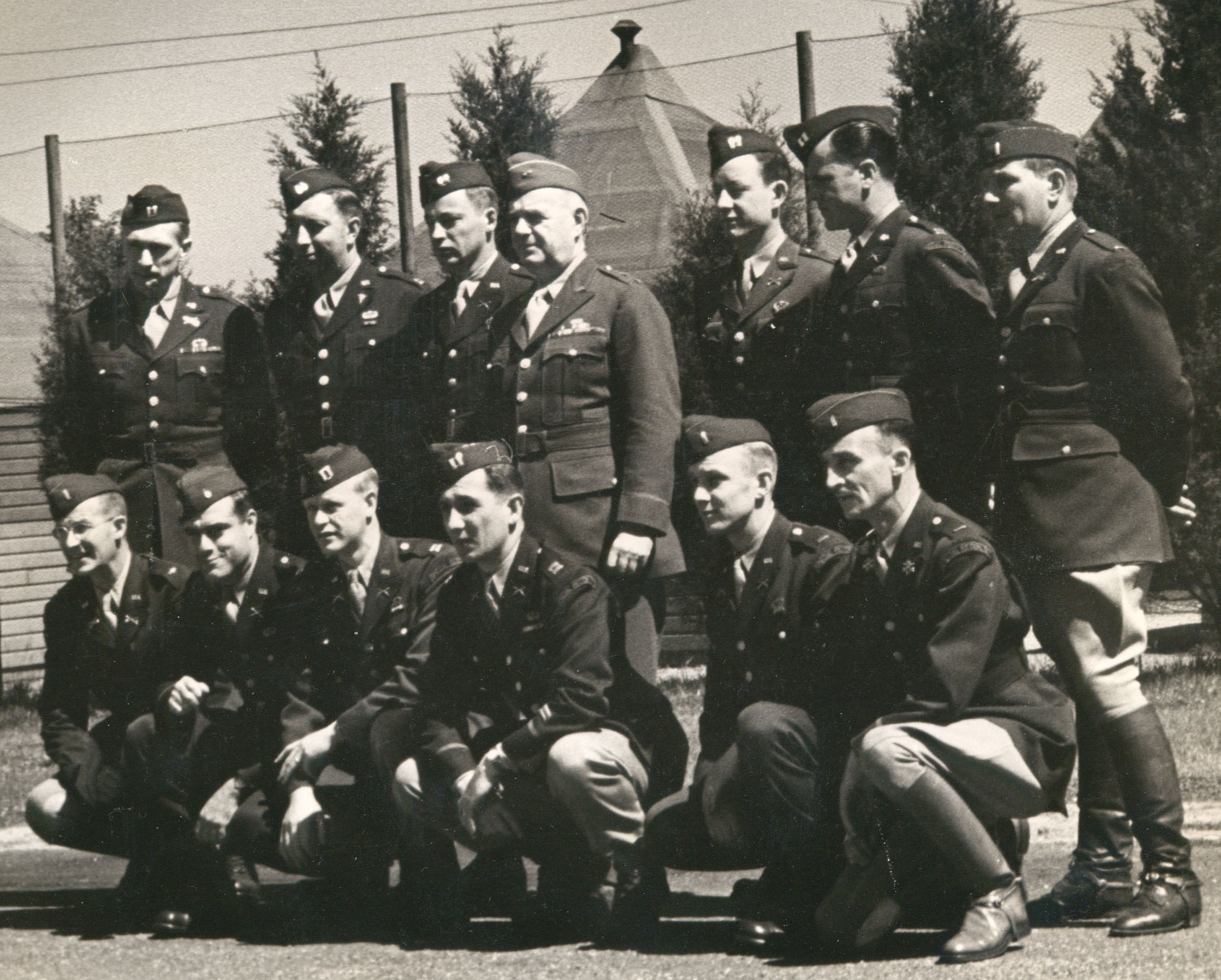 Office of Strategic Services (OSS) Director General William J. Donovan with members of the OSS Operational Groups, forerunners of today's US Special Operations Forces, at Congressional Country Club in Bethesda, Md., which served as an OSS training facility during World War II.