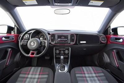 VW #PinkBeetle signature plaid interior