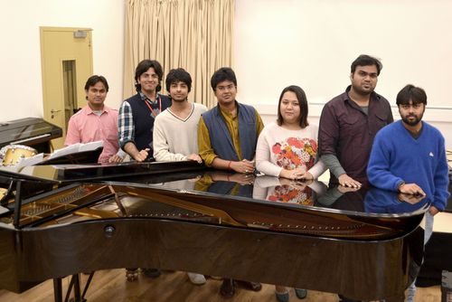 Indian musicians at Middlesex University in London. The group, from AR Rahman's KM Music Conservatory, are ...