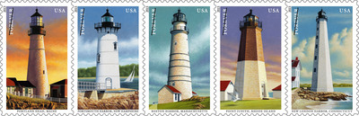 Five lighthouses that for centuries enabled sailors to safely navigate the waters along the northeastern United States stand tall on postage Saturday, July 13, with the issuance of the New England Coastal Lighthouse Forever stamps. Visit usps.com/lighthouses to view videos of the five lighthouses.  (PRNewsFoto/U.S. Postal Service)