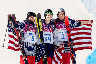 U.S. podium sweep at the historic debut of men's slopestyle skiing in the 2014 Sochi Olympic Winter Games Thursday. Joss Christensen took the sport's first-ever gold medal. His good friends Gus Kenworthy and Nick Goepper earned silver and bronze. 2014 Olympic Winter Games - Sochi, Russia. Men's slopestyle skiing. (PRNewsFoto/USANA, Sarah Brunson) (PRNewsFoto/USANA)