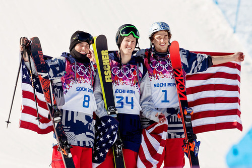 U.S. podium sweep at the historic debut of men's slopestyle skiing in the 2014 Sochi Olympic Winter Games ...