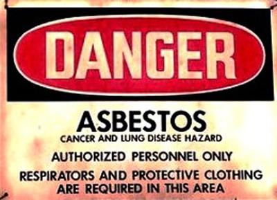 Asbestos Warning Sign. (PRNewsFoto/Mesothelioma Victims Center) (PRNewsFoto/MESOTHELIOMA VICTIMS CENTER)