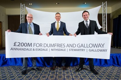 The Crichton Trust announces a major new inward investment that will transform the region of Dumfries and Galloway in Scotland. The £200 million investment package by Jansons Property will deliver widespread community and public benefit. Picture Shows; Left to right, Rob Shaw, CEO Crichton Trust, Andy Jansons, Managing Director of Jansons Property, and John McGee of the Crichton Trust, Monday, 30 November 2015.