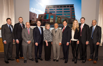 Officials from ALSAC and St. Jude join supporters in celebration of the opening of the Kay Research and Care Center. From left, the group includes Terry Burman of the St. Jude Board, Ryan Kunkel of Red Frog Events, U.S. Congressman Steve Cohen, St. Jude President and CEO James Downing, MD, Tryna Kochanek of Kay Jewelers, Rich Unes of the St. Jude Board, David Bouffard of Kay Jewelers, Eric and Lara Trump of The Eric Trump Foundation and Richard Shadyac, President and CEO of ALSAC/St. Jude.