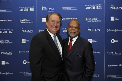 """Howard P. Milstein, Chairman and CEO of Emigrant Bank (left), with Henry Louis Gates Jr., at a launch event sponsored by the Howard and Abby Milstein Foundation, Emigrant Bank and HooverMilstein, for Professor Gates upcoming public television series """"Black America Since MLK: And Still I Rise."""""""