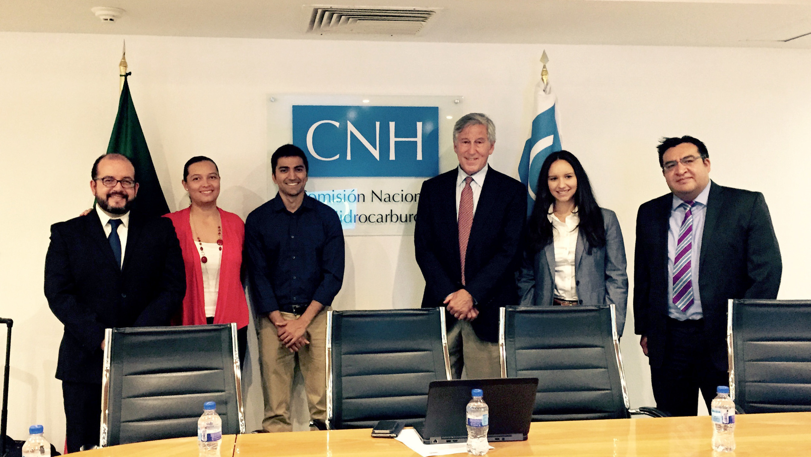 A new partnership between the University of Houston Law Center and Mexico's National Hydrocarbons Commission provides internships for law students in Mexico while offering legal expertise to Mexican officials. Participants in the announcement included: Pablo Enriquez, director of International Affairs, National Hydrocarbons Commission (CNH); Carla Gabriela Gonzalez, executive secretary, National Hydrocarbons Commission; Nimroz Ali, J.D., CNH Extern, summer 2015; UH Professor Emeritus Stephen Zamora, executive director of the Center for U.S. and Mexican Law at the Law Center; Valentina Echeverri, LL.M., CNH Extern, summer 2015; and Enrique Silva, deputy general director of regulation, National Hydrocarbons Commission.
